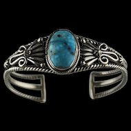 Kingman Turquoise and Sterling Bracelet by Navajo Artist Harold Tahe