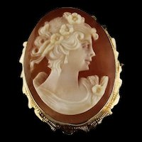 Hand Carved Brooch/Pendant Cameo in 14k Gold Setting