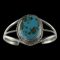 Navajo Sterling and Cripple Creek Turquoise Bracelet