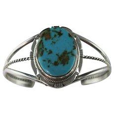 Navajo Sterling and Cripple Creek Turquoise Bracelet