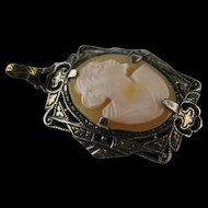 Antique Cameo Set in Sterling Silver