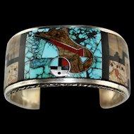 Outstanding Gilbert M. Calavaza Inlay Cuff Bracelet