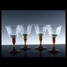 Floral Cut Liquor Cocktail Glasses
