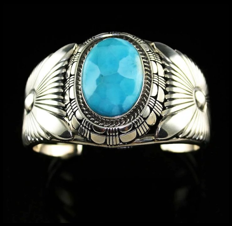 Exceptional Heirloom Quality Larimar Cuff Bracelet By Jerry Nelson