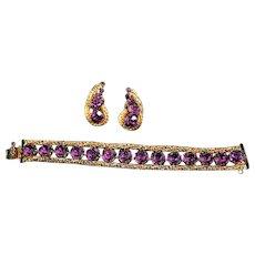 Signed Hattie Carnegie Bracelet and Earring Set