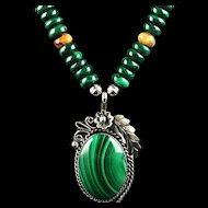White Fox Creation: Navajo Malachite Pendent on Malachite and Lacey Agate Necklace