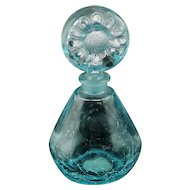 Blue Crackle Glass I W Rice Perfume Bottle