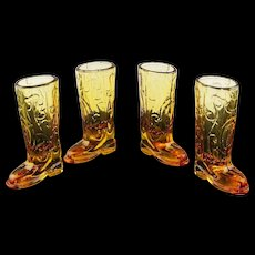 Amber Western Boot Shot Glasses