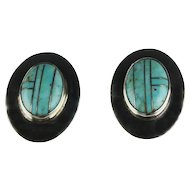 Geometric Pattern Sterling and Turquoise Earrings ca 1980's
