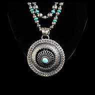 White Fox Creation: Navajo Made Stamped Sterling Beads and Turquoise Necklace