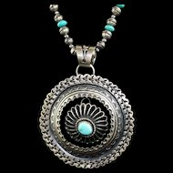 White Fox Creation: Turquoise and Navajo Made Beads with Navajo Kevin Billah Pendant