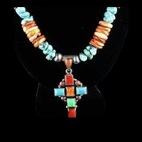 White Fox Creation: Multi-Stone Cross with Lion's Paw and Sonora Turquoise Nugget Necklace