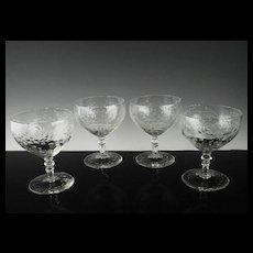 Elegant Creamy Cocktail Glasses by Libbey Rock Sharpe ca 1936