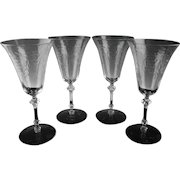 Elegant Floral Cut Water/Large Wine Glasses
