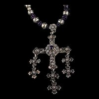 1940's-50's Sterling and Amethyst Cross