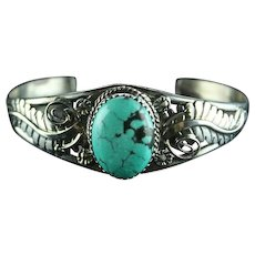 Navajo Phillip Yazzie Turquoise and Sterling Bracelet