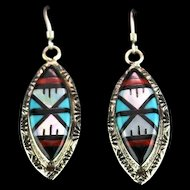 Zuni Inlay Earrings by Larry Leslie