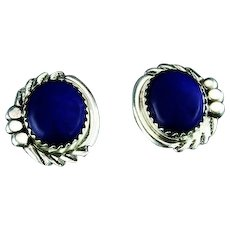 Navajo Button Sterling and Lapis Earrings