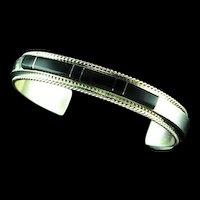 Acoma Jet Inlay Bracelet by Fran Yazzi