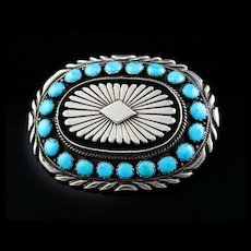 Heavy Navajo Turquoise and Sterling Belt Buckle
