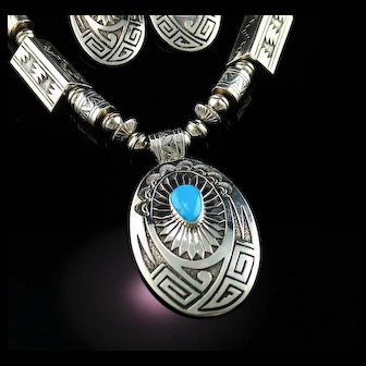 Spectacular  Native American Necklace and Earring Set