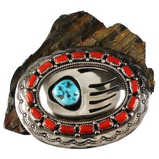 Turquoise and Coral Belt Buckle by Wilbur Musket
