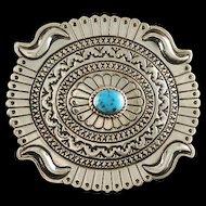 Sterling and Turquoise Belt Buckle by Navajo Artist Harris Joe