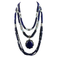 White Fox Creation: Lapis and Creamy Blue Larimar Necklace Collection
