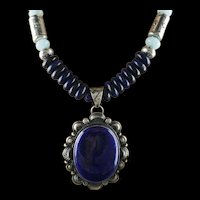 White Fox Creation: Lapis and Creamy Blue Larimar Necklace