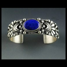 Outstanding Sterling and Lapis Bracelet by Navajo Artist Darryl Becenti.