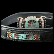 Unique Zuni Beaded and Inlaid Belt and Belt Buckle