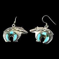 Navajo Inlaid Bear Earrings