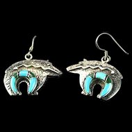 Navajo Inlaid Bear Earrings