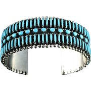 Zuni Needlepoint Turquoise and Sterling Bracelet