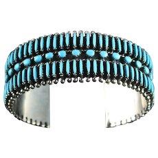 Zuni Needlepoint Turquoise and Sterling Bracelet