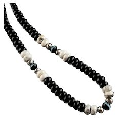 White Fox Creation: Onyx and Howlite Necklace