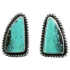 Large Sterling and Morenci Turquoise Earrings