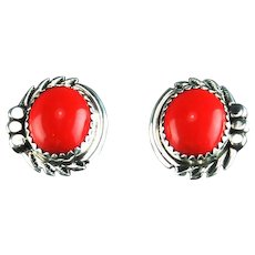 Navajo Coral and Sterling Button Earrings