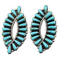 Graceful Turquoise Earrings By Navajo Artist Tom Billy