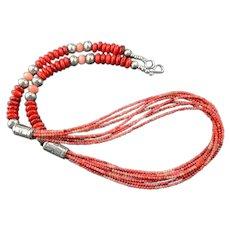 White Fox Creation: Tri-Color Coral Multi-Strand Necklace