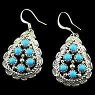 Multi Stone Turquoise and Sterling Earrings