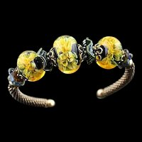 Romance: Sterling Silver and Lampwork Bead Bracelet