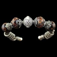 Wild Thing: One of A Kind Sterling and Lampwork Bead Bracelet
