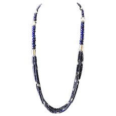 Long Lapis and Creamy Larimar Necklace