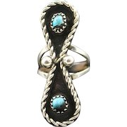 Navajo Boulder Turquoise Infinity Ring