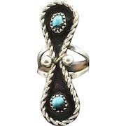 Navajo Boulder Turquoise Infinity Ring