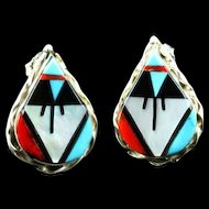 Zuni Inlay Earrings by Wilson and Carolyn Niiha