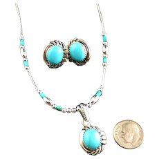 Turquoise and Liquid Silver Set