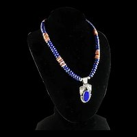 White Fox Creation: Lapis and Purple Spiny Oyster Necklace