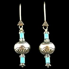 Hand Made Sterling and Turquoise Earrings